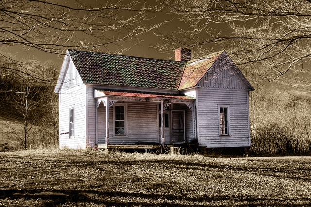 """""""Country Home"""" -- [An abandoned old country home in the Blue Ridge Mountains of Western North Carolina.]~[Photograph by scenefinder - December 29 2008]'h4d-127.2013"""