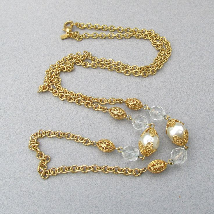 NEW In Box 36' Long Vintage Signed R.J. Graziano Crystal & Faux Baroque Pearl Chain Necklace