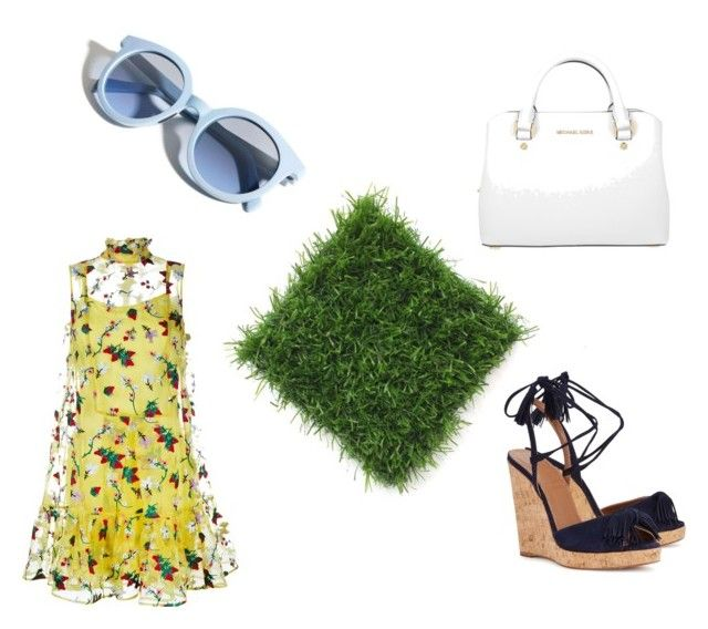 """Yellow dress"" by aleksaaryal on Polyvore featuring Pinko, Erdem, Aquazzura and Michael Kors"