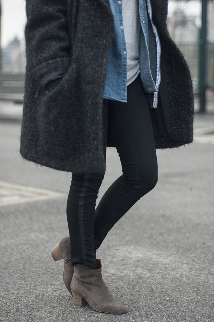 navy mohair knee length coat over layered chambray buttonups and a grey tunic tee, black skinnies and grey ankle booties