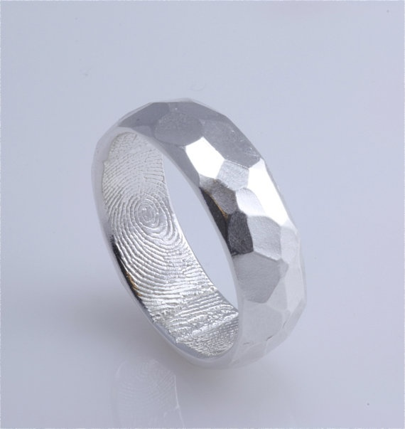 Trending mm Sterling Silver Hammered Surface Custom Band with Fingerprint Wrapped Inside NOT Oxidized inside