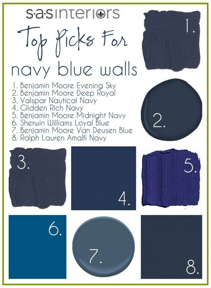 Navy blue walls - I like the SAS interiors Blog and find their postings always interesting.  There are several Bennie Moore navy's on here. If you are afraid of using a dark color on all walls, try using it as an accent color, paint the trim a darker color, or just one wall. Use a lighter coordinating on the other three ways.