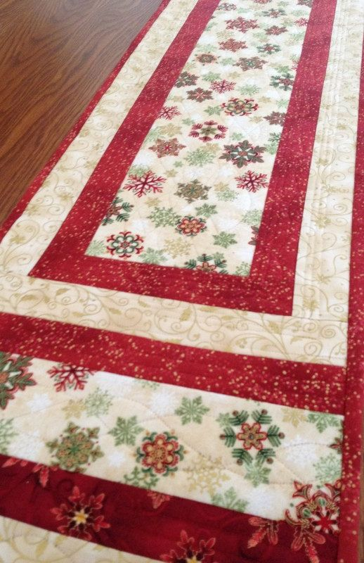 Quilted Table Runner  Christmas Snowflakes Table by birdsongquilts
