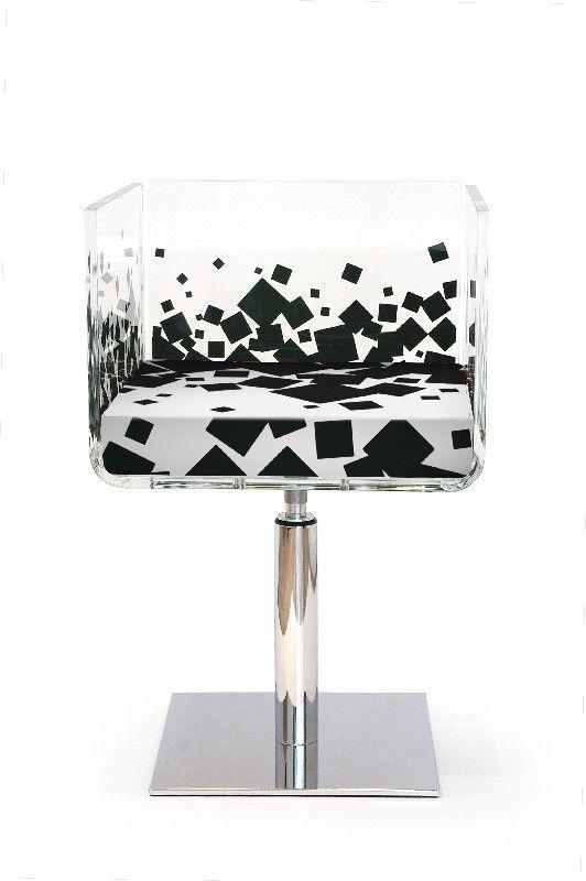 Fauteuil verre acrylique Cali carré noir - Acrila