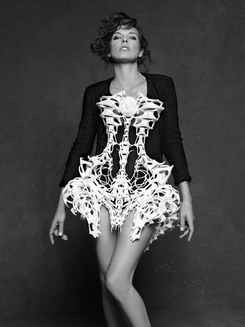 Exoskeleton Dress - fashion as art; innovative 3D-printed clothing; sculptural fashion // Iris van Herpen