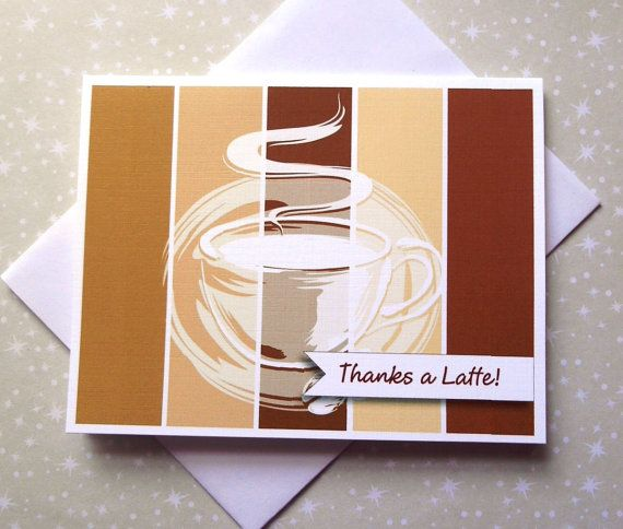 Thanks a Latte Coffee Color Block Thank You by PinkiesInkings
