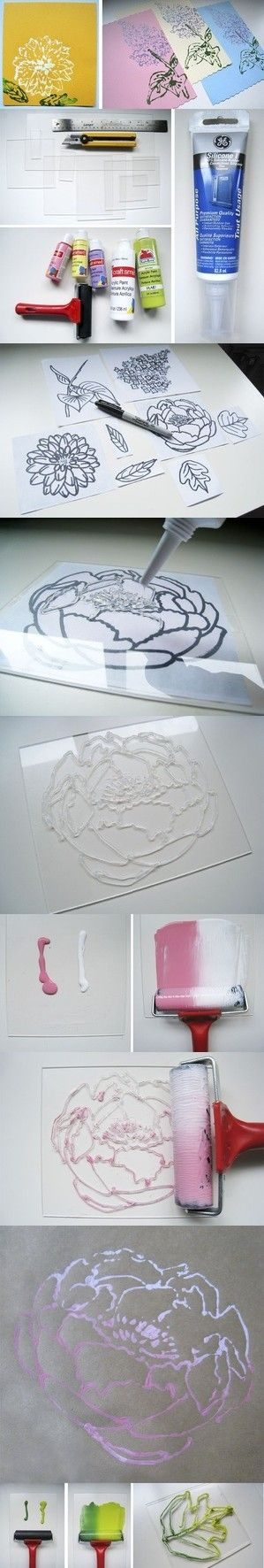 flower paintings by tracing and creating raised drawing, then stamping with paint
