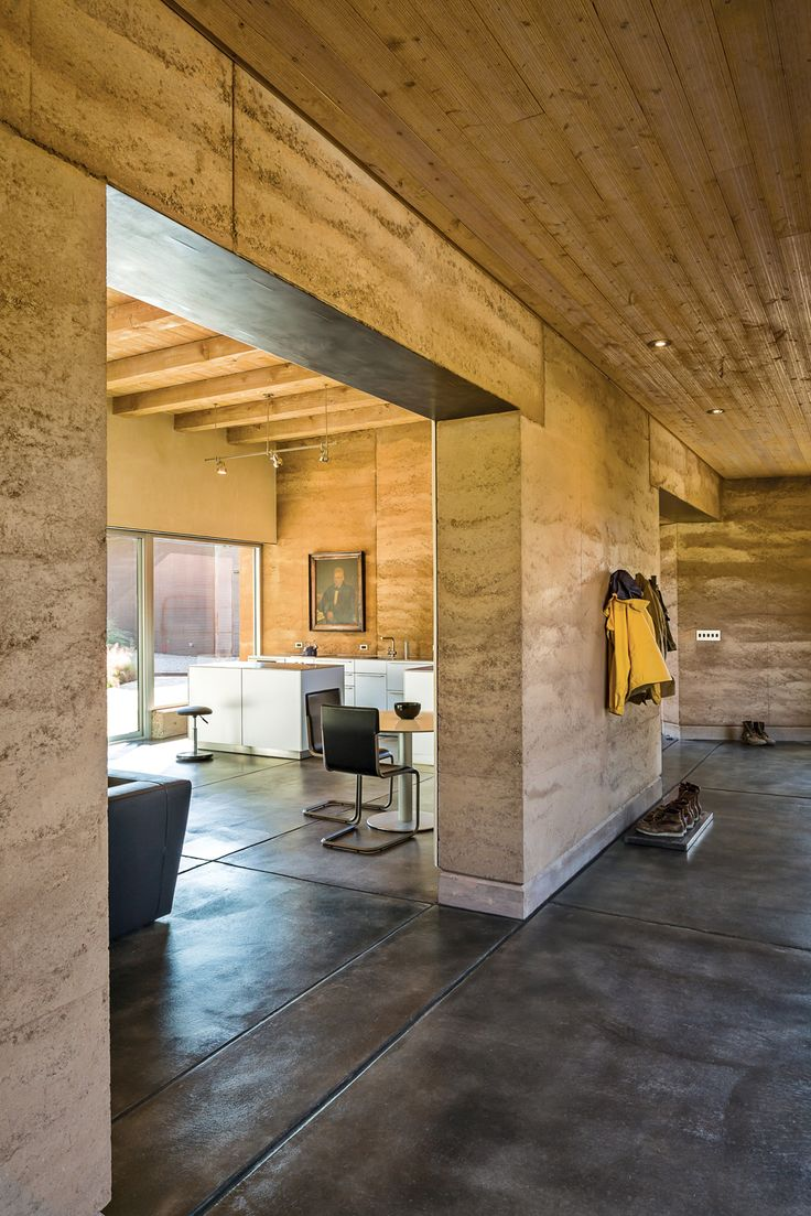 sustainable rammed earth home in New Mexico