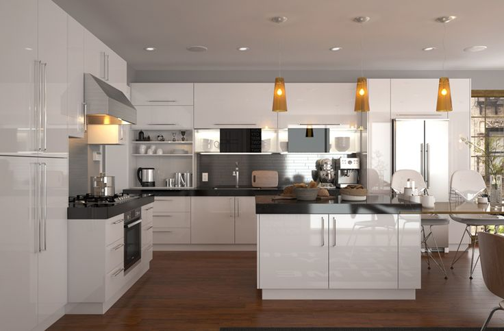 In order to expand kitchen space, it is a local style to add a kitchen island, which could serve as a preparation area, in the kitchen. And the matching of black countertop and white cabinet is never out of fashion.