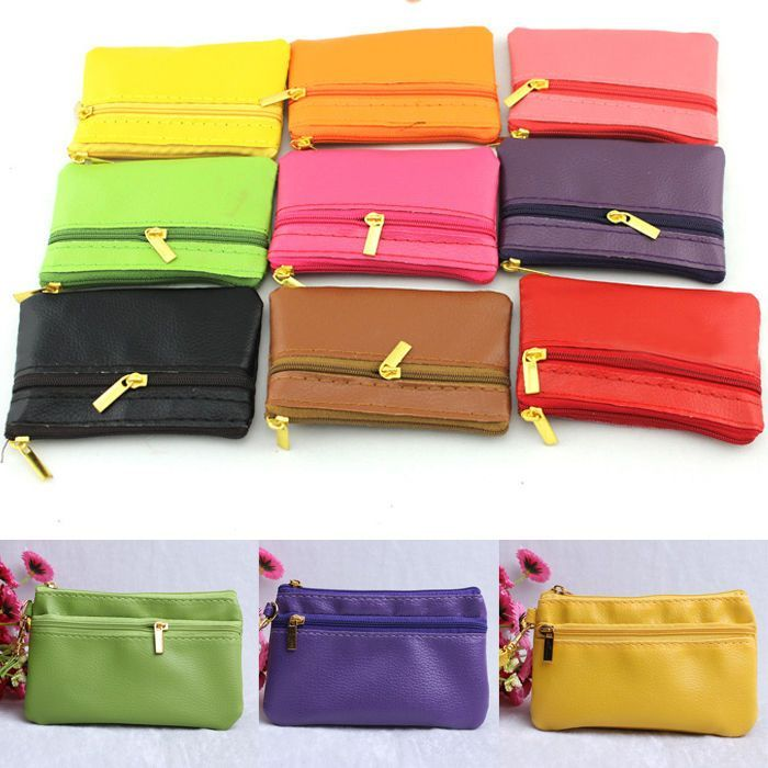 Multi-Color PU Leather Men Women Zippered Wallet Small Mini Coin Purse Key Pouch #UnbrandedGeneric