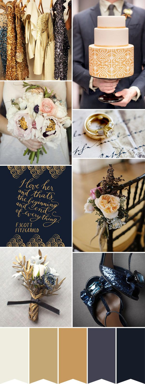A navy and gold wedding inspiration board.