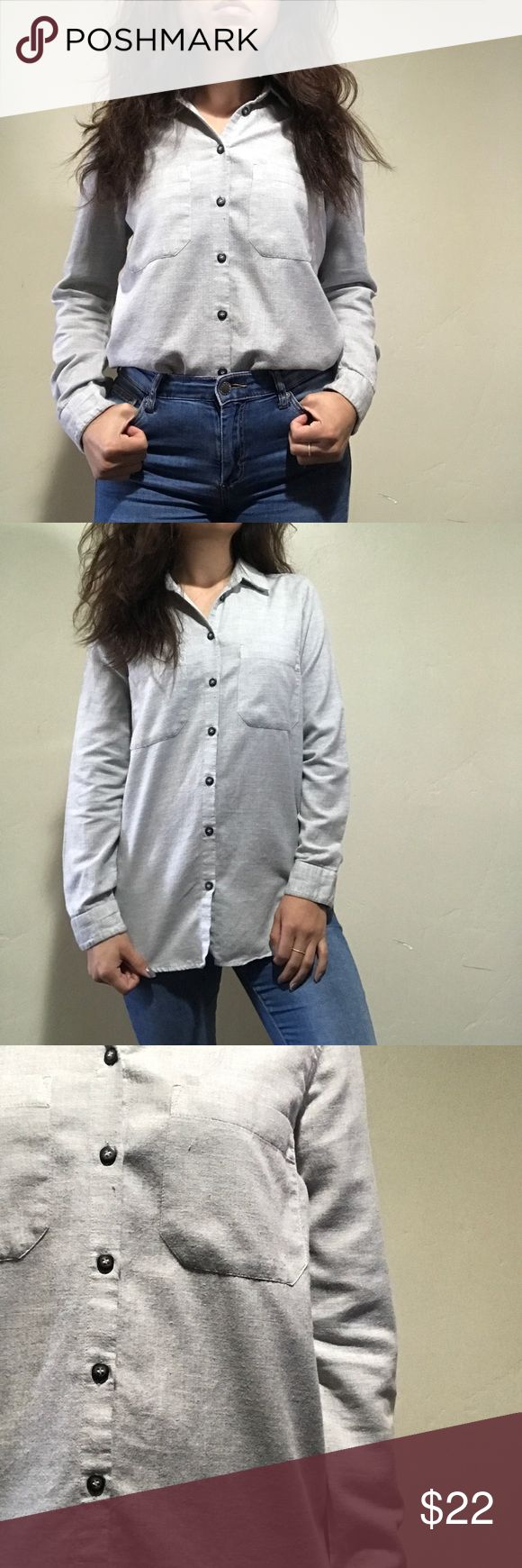 Button up Grey button up great for causal or formal business attire. Very warm great for cold days. Topshop Tops Button Down Shirts