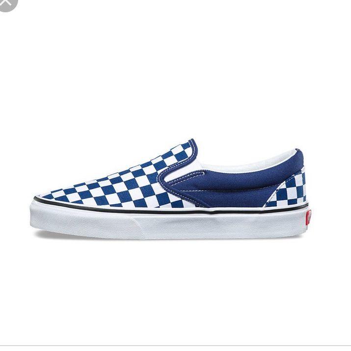 dark blue and white checkered vans