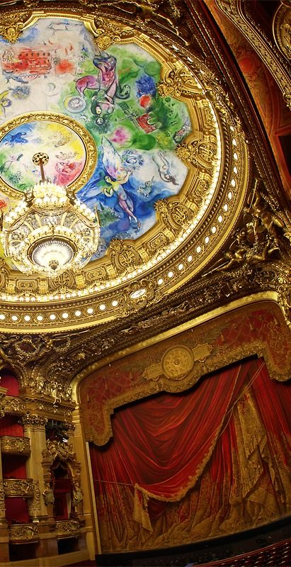 Opéra Garnier, Paris, France ~ The ceiling painted by Marc Chagall (Photo copyright: A.G. Photographie)