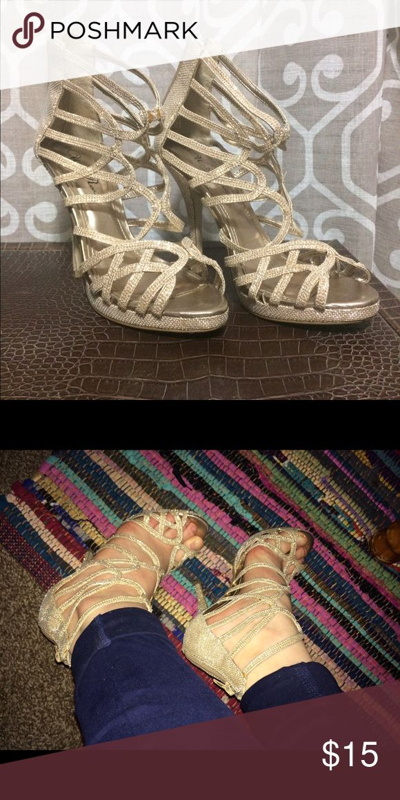 Gold strapped heels Good condition, worn once! wild rose Shoes Heels
