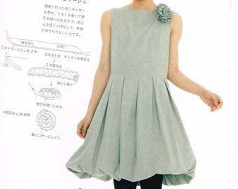 One Piece Kleid Muster - Yoshiko Tsukiori - japanische Nähen Musterbuch für Frauen Kleidung, einfach nähen Anleitung, Anleitung - B1576