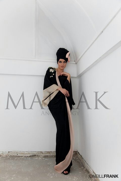 Malaak bicolor abaya with matched turban