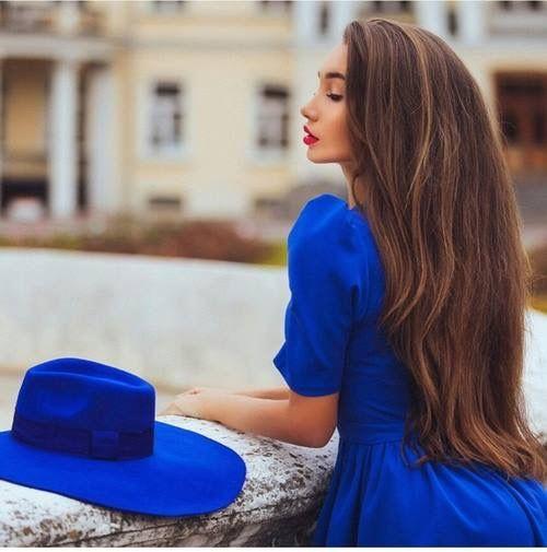 #blue #hat #dress
