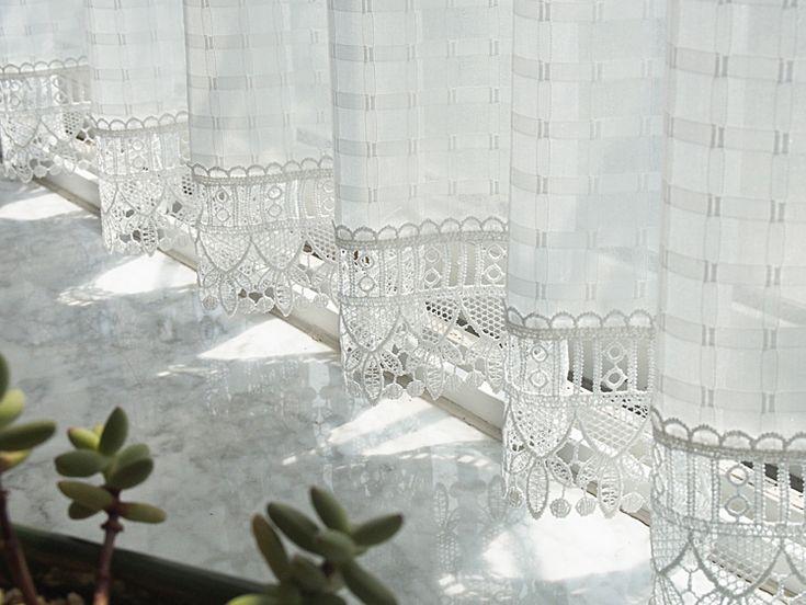 Иностранные идиллические белые квадраты растворимы кружева занавес ткани занавес занавес шкаф половины занавес занавес кухни кофе - глобальная станция Taobao
