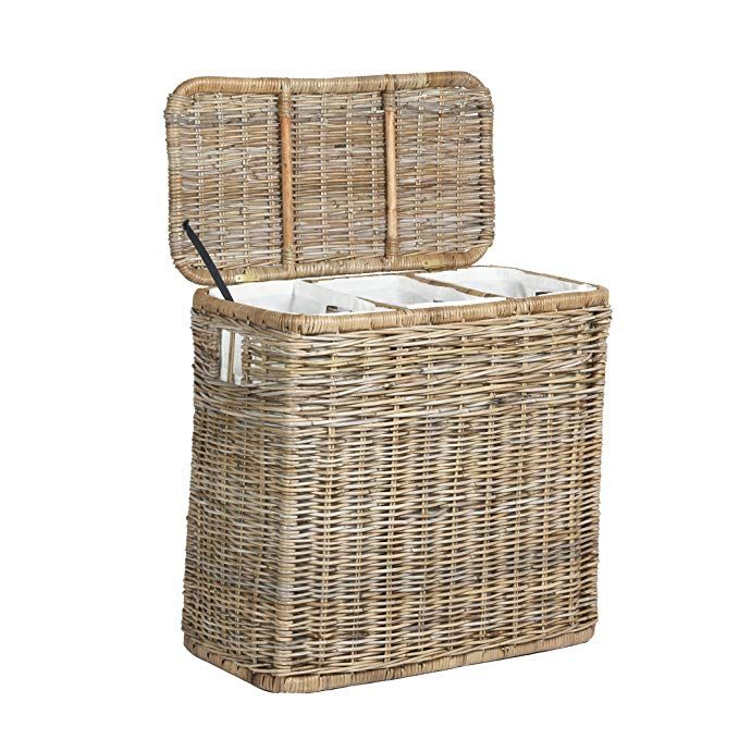 The Basket Lady 3 Compartment Wicker Laundry Hamper Clothes