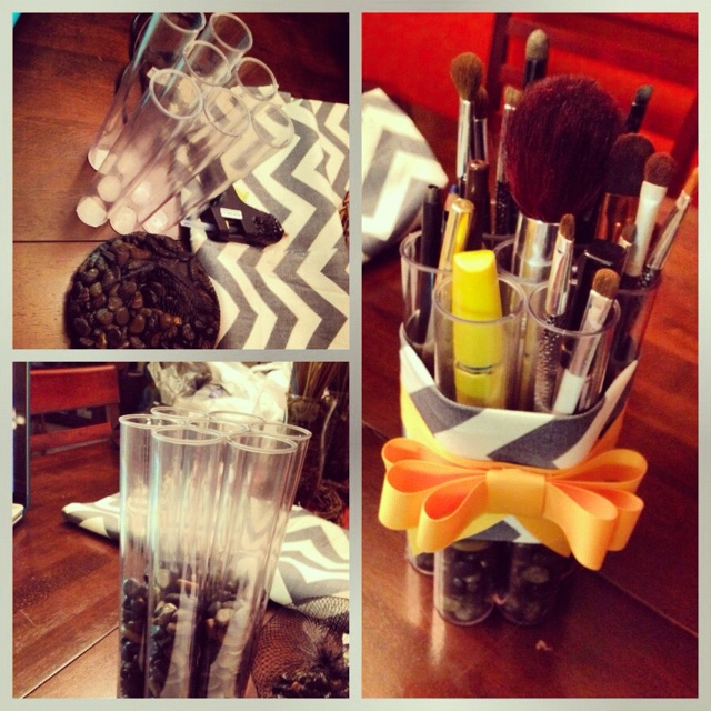 $9 makeup brush holder #diy #makeup #cosmetics #organizing (items from a.c.moore)