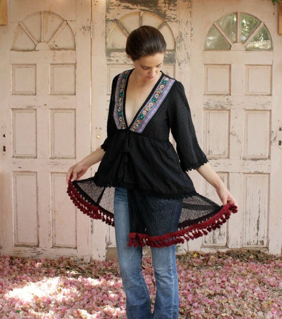 Unique Black Kaftan Blouse galabiya in by YasminEthnicJewelry