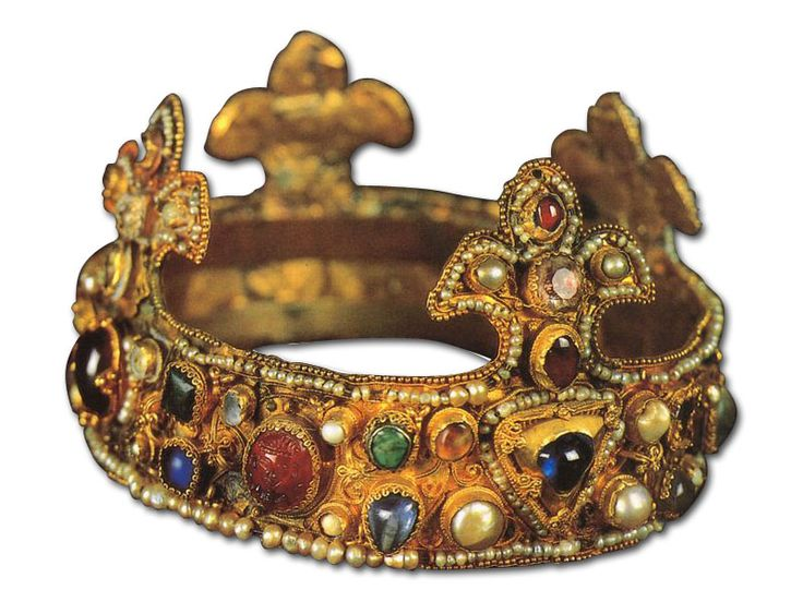 Ottonian crown on display at Essen's cathedral treasury, circa 1100. Long believed to be the infant crown of king of Romans Otto III.