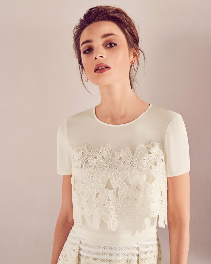 We adore this Guipure lace sheer panel wedding dress - Ivory | SS17 Tie The Knot | Ted Baker UK Wedding Dress | Ted Baker Wedding Dress | Wedding Dress Ideas | Wedding Dress Seperates | High Street Wedding Dress