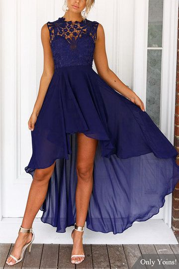 Delicate Crochet Lace Details Maxi Dress in Navy from mobile - US$37.95 -YOINS