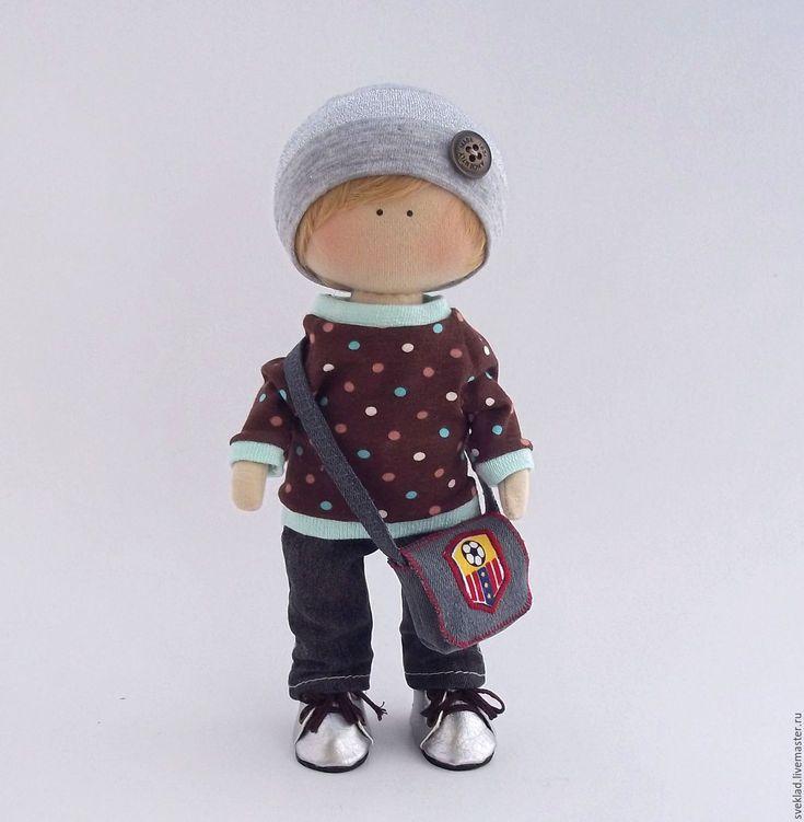 Купить Текстильная интерьерная кукла мальчик - комбинированный, кукла мальчик…