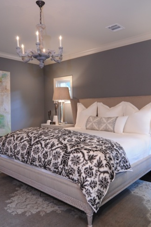 Grey paint on the walls white bedding clean and simple Bedroom ideas grey walls