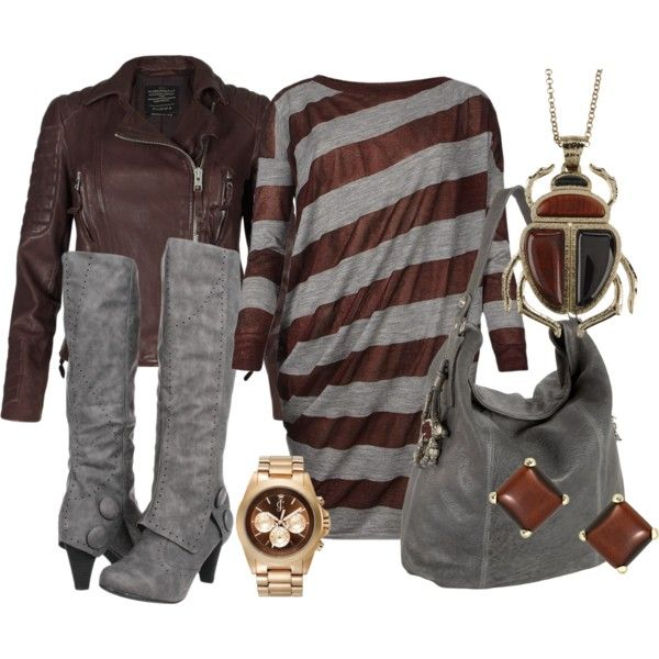 Chic Outfit: Chic Outfit, Bugs Necklaces, Women Fashion, Colors Combos, Style, Clothing, Grey, Brown Boots, Stripes Dresses