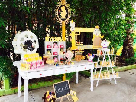 mesa de dulces la bella y la bestia candy bar  beauty and the beast