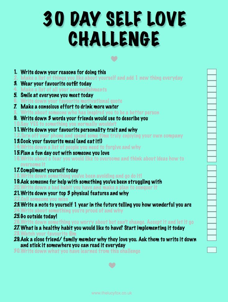 Self Love Challenge  http://www.thelucyfox.co.uk/2016/08/30-day-self-love-challenge.html