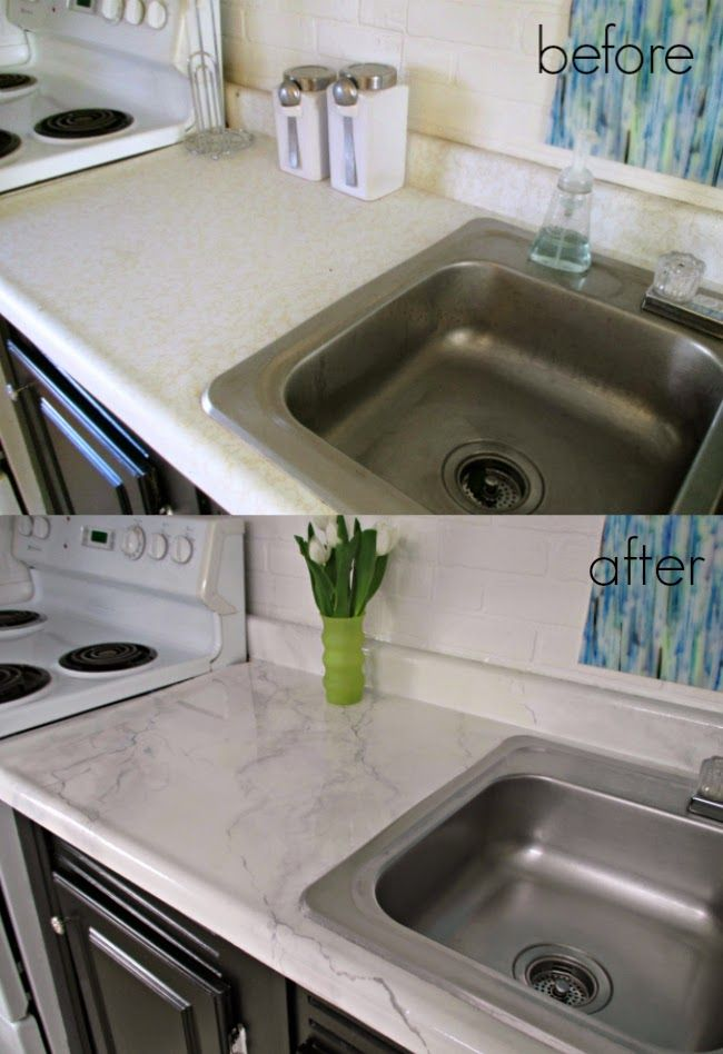 "DIY Counters: Dated laminate to modern ""Marble"" for Only $25!! Such a drastic change and so easy too!"