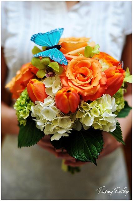 Green Bouquet, Blue Butterflies, White Flower, Orange Wedding, Orange Flower, Flower Bouquets, Blue Green, Colors Blue, Wedding Flower