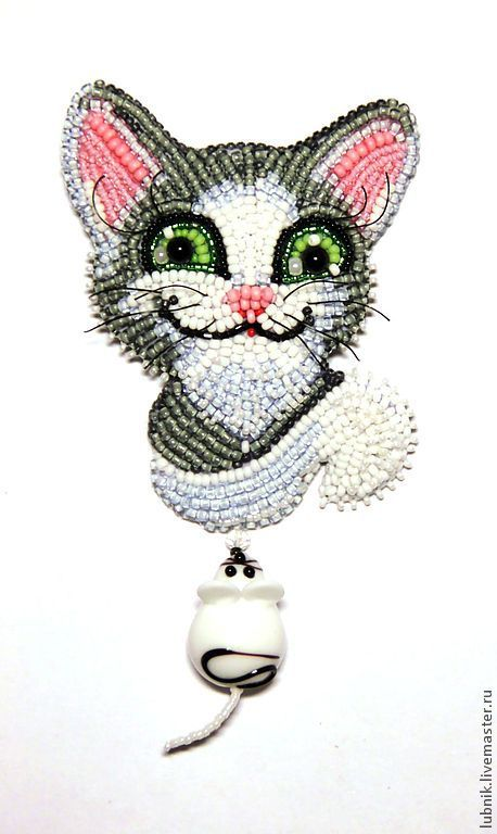 """Купить Брошь """"Охотник"""" - серебряный, котик, котенок, мышка, мышь, бусина лэмпворк, брошь"""