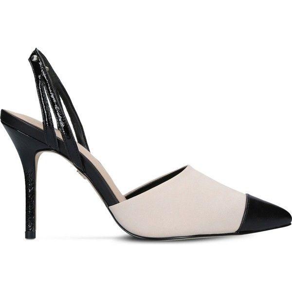Kg Kurt Geiger Bree leather heeled shoes ($140) ❤ liked on Polyvore featuring shoes, slingback shoes, patent leather slingbacks, patent shoes, kg kurt geiger shoes and pointed toe slingbacks