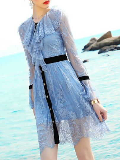 Ruffle Neck Bell Sleeve Lace Dress
