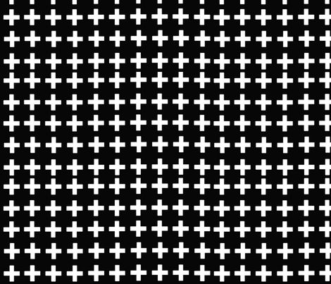 Black with white crosses fabric by e-lkh on Spoonflower - custom fabric