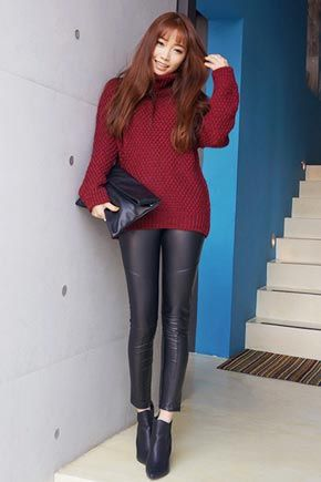 Diagonal Seam Lined Leather Pants