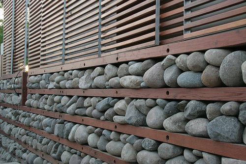 stones used to retain heat in a passive solar heating wall