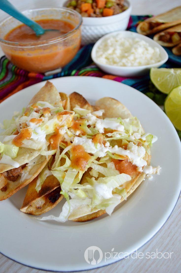 Tacos dorados de picadillo www.pizcadesabor.com