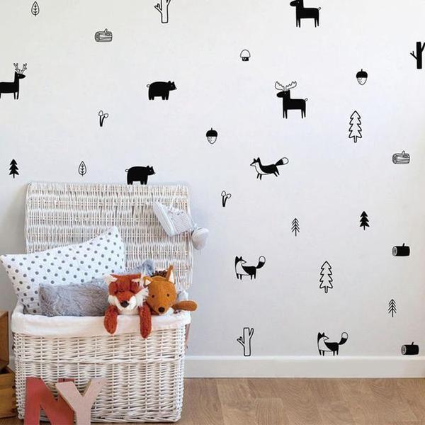 Modern Nursery Wall Decal Abcs Wall Vinyl Decor Wall Stickers Woodland Nursery Wall Decals