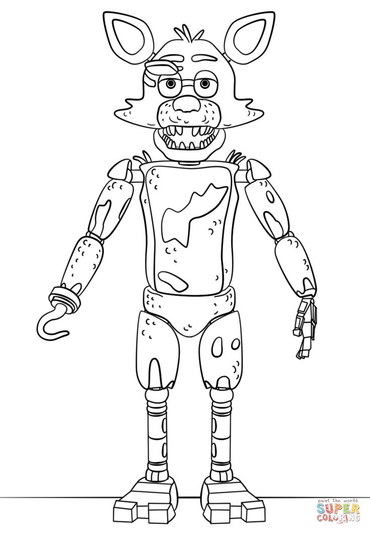 Fnaf Toy Foxy Coloring Page From Five Nights At Freddy S