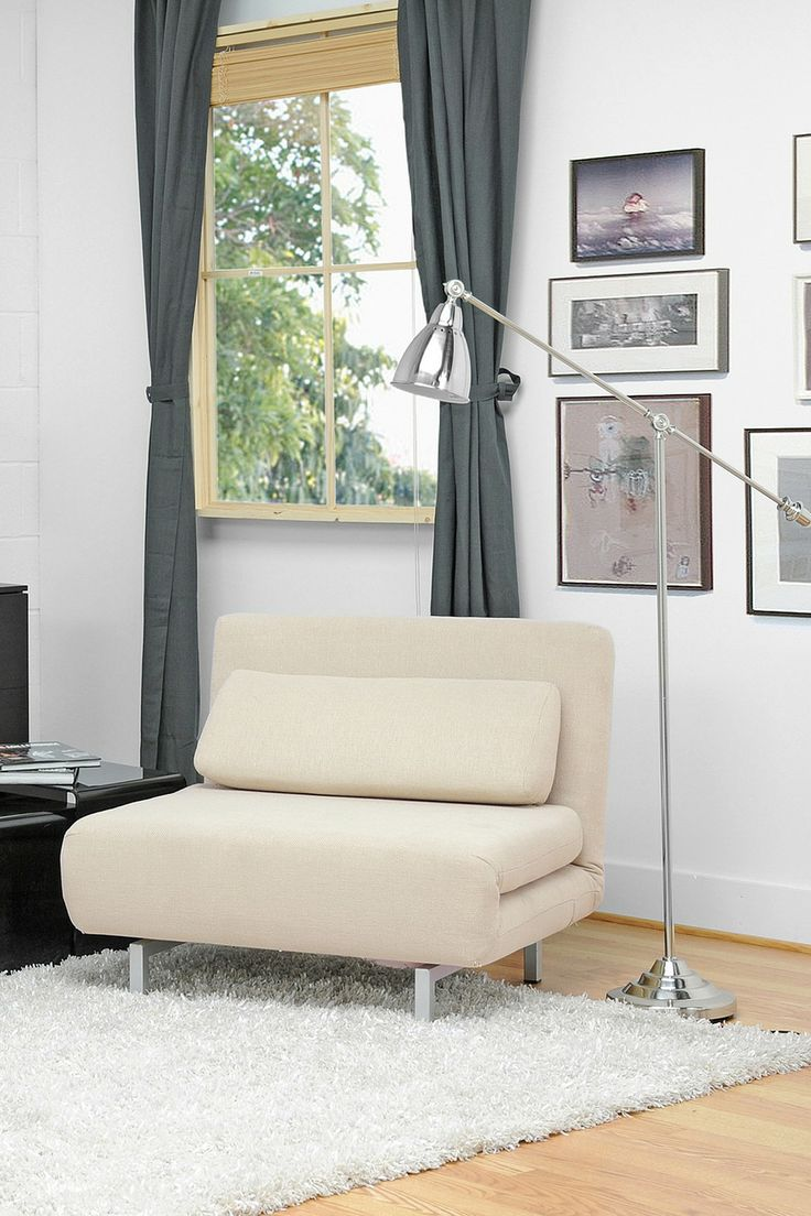 Amiens Cream Convertible Accent Chair/Bed