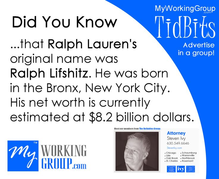 Ralph Lauren was born in the Bronx, New York City as Ralph