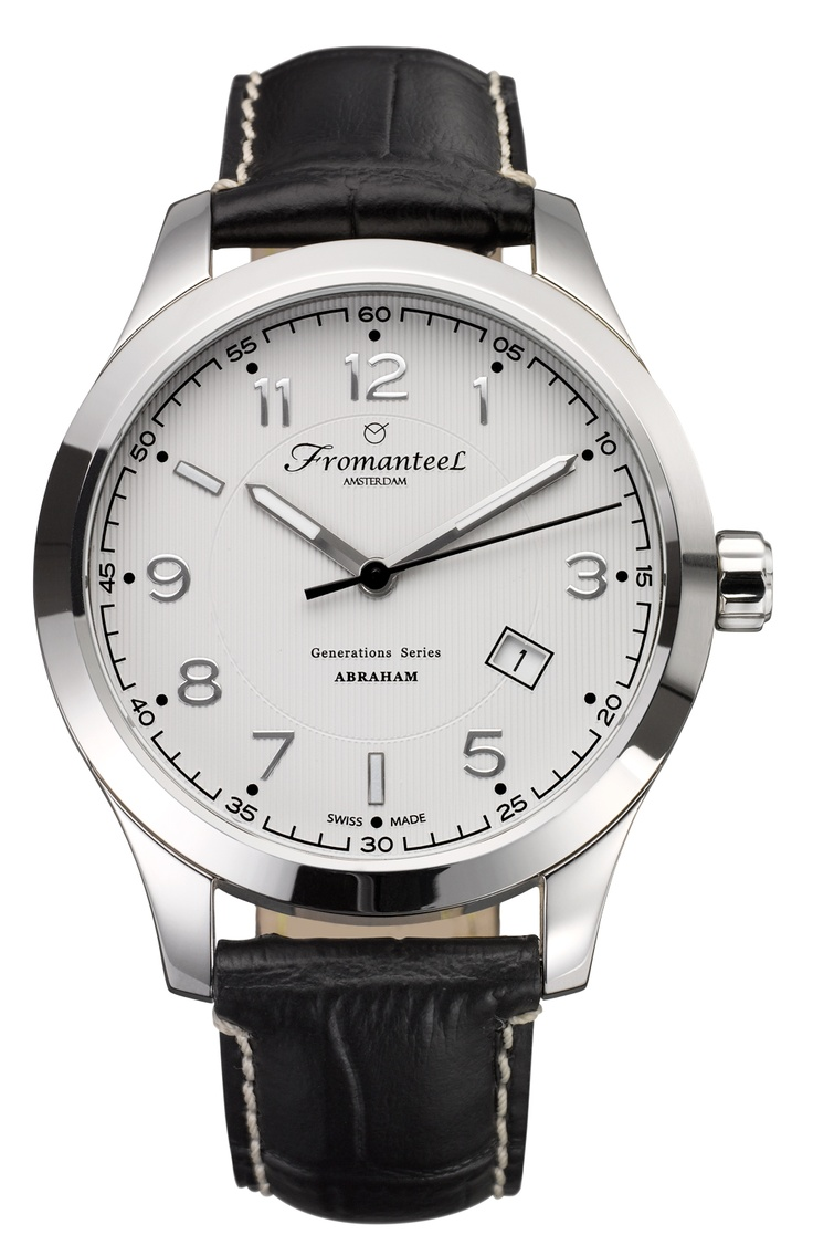 Abraham white, black leather strap