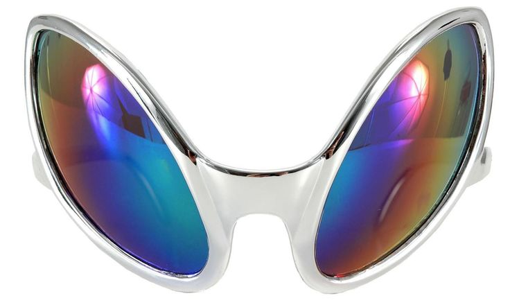 Watch all the puny earthlings in disguise wearing the Silver Close Encounter Alien Costume Mirrored Glasses.