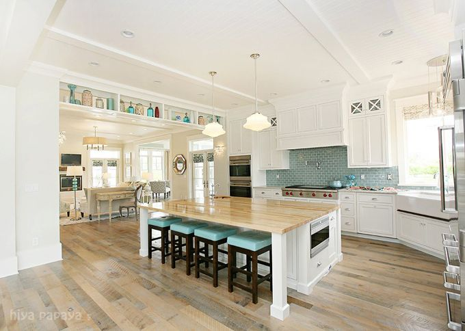 white kitchen cabinets with blue glass backsplashButcher Block, Dreams Kitchens, Floors, Blue, Subway Tile, Islands, House, Open Kitchens, White Kitchens